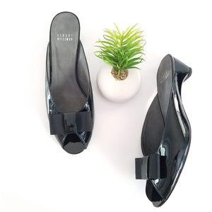 STAURT WEITZMAN Candy Bow Slide Heel Black Patent